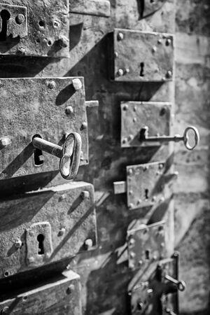 Antique locks, detail of different types of antique locks, protection 版權商用圖片