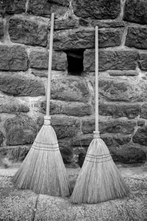 Brooms old, detail cleaning tools for the home, hand instrument
