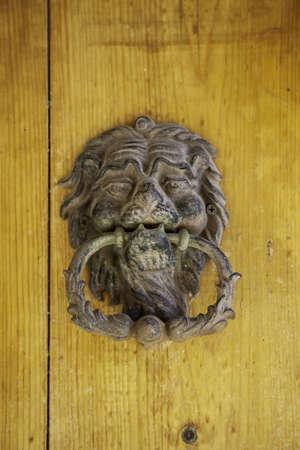 Antique bronze door knocker, decoration detail, vintage