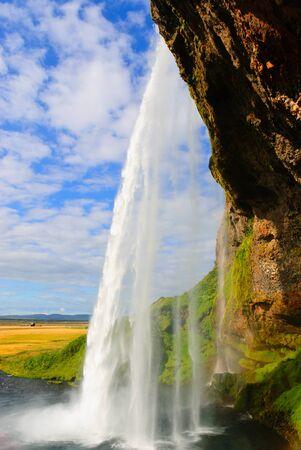 rear view of the waterfall Seljalandfoss