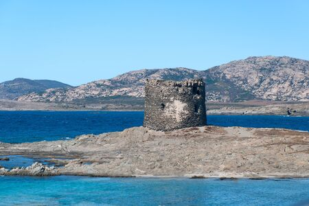 The blue sea on the beach La Pelosa in Stintino in Sardinia Stock Photo