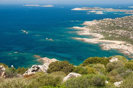 View of the coast of La Maddalena Island in Sardinia  스톡 콘텐츠
