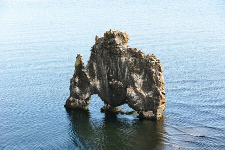 alone rock in the sea in Iceland