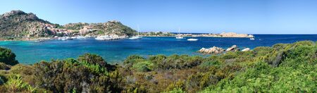 Overview of Porto Massimo on the island of La Maddalena in Sardinia, Italy