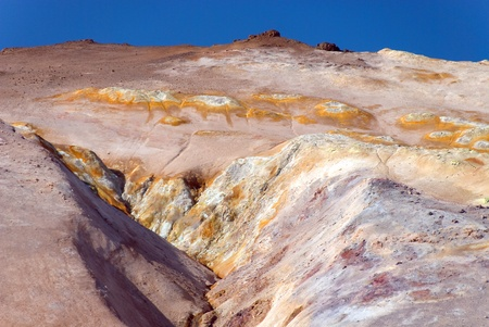 upstream of sulfur near fumaroles with blue sky 스톡 콘텐츠