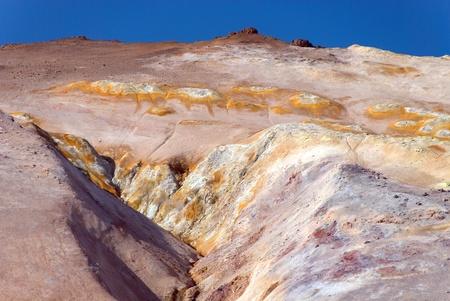 upstream of sulfur near fumaroles with blue sky Stock Photo