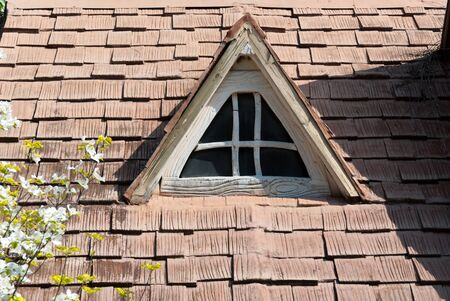 roof window with white flowers and triangular