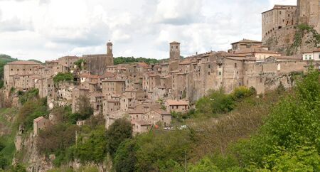 view of the village of Scansano in the province of Grosseto in Tuscany