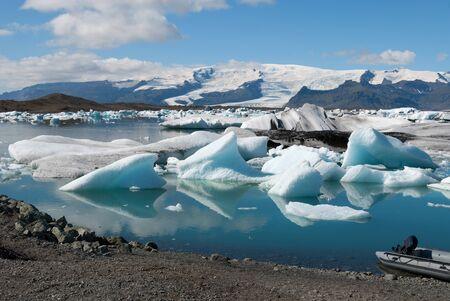 extreme landscape of the lake jokulsarlon  in Iceland Stock Photo