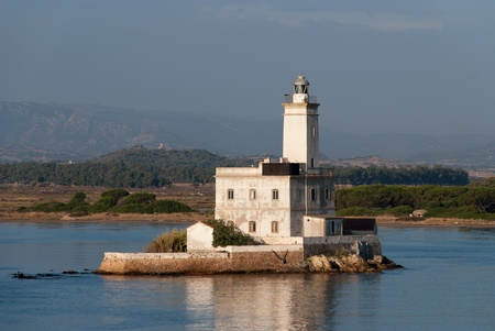 Lighthouse at the port of Olbia in Sardinia