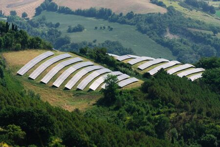 solar panels on the hills of Predappio