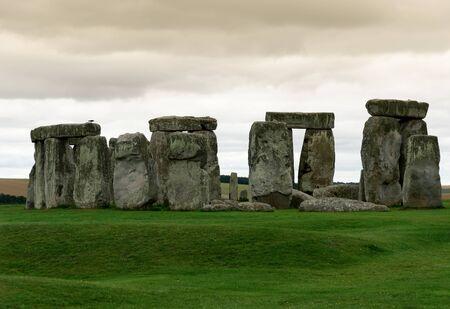 arcane: monoliths at Stonehenge at sunset Stock Photo