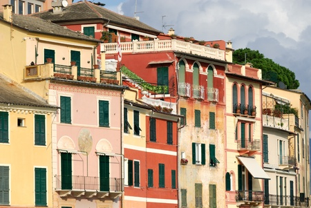 homes of many colors in the village of Portofino in Italy photo