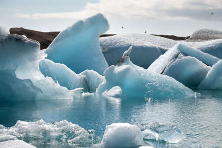 jokulsarlon: icebergs on the Jokulsarlon lake in Iceland