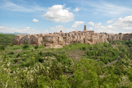 view of the village of Pitigliano in Tuscany 스톡 콘텐츠