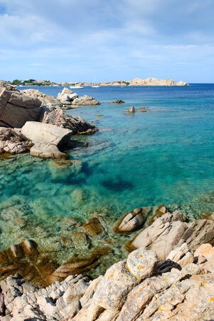 Transparent sea in Porto Massimo on the La Maddalena island  in Sardinia 스톡 콘텐츠