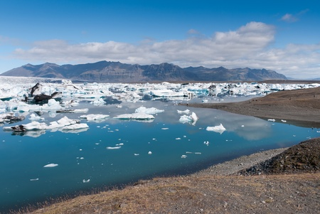 Jokulsarlon lake  panorama with Icebergs  in Iceland