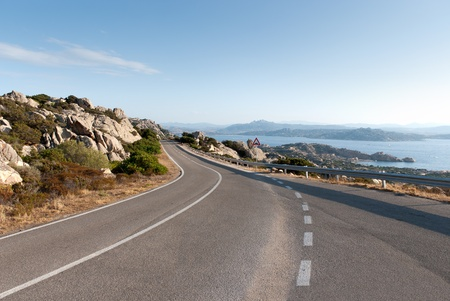 scenic road on the island La Maddalena in Sardinia 版權商用圖片