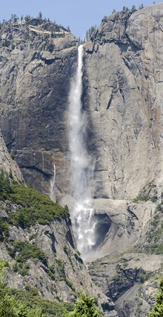 overview of the waterfall Lower Yosemite Falls in Yosemite National Park in California in America photo