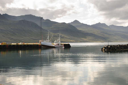 Small harbor in the Faskrusfjordur fjord in Iceland  Stock Photo