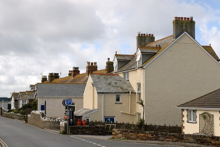 street with terraced houses in Tintagel in Cornwall