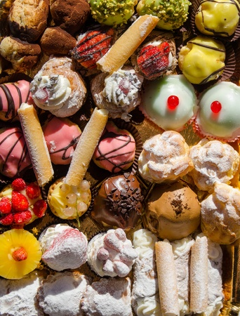 overview of a tray of Sicilian pastries  Stock Photo