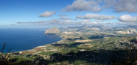 erice: overview of San Vito Lo Capo in the winter from Erice to Trapani in Sicily Stock Photo