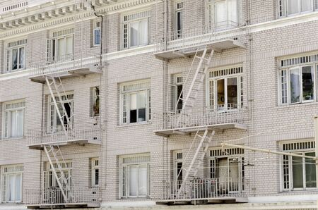 facade of a building with fire escapes in San Francisco Stock Photo - 17801084