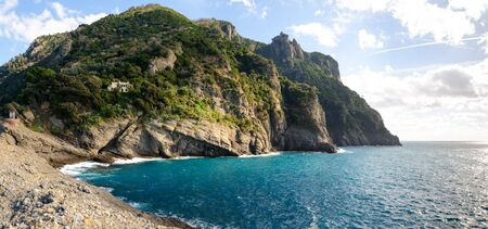 Overview of the promontory of Portofino photographed from Punta Chiappa 스톡 콘텐츠