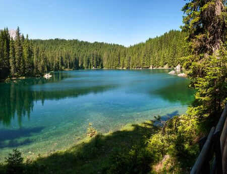 overview of Carezza lake in Trentino Alto Adige in Italy 스톡 콘텐츠