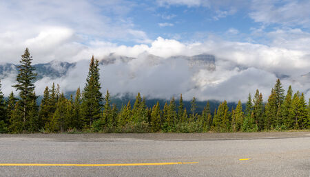 icefield: overview on the road between the mountains on the Icefield Parkway in Canada