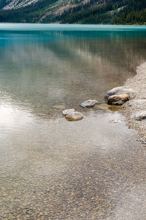 icefield: reflections on the lake on the Icefield Parkway Bow in Canada