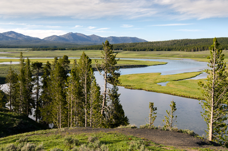 landscape with lakes and rivers in Yellowstone