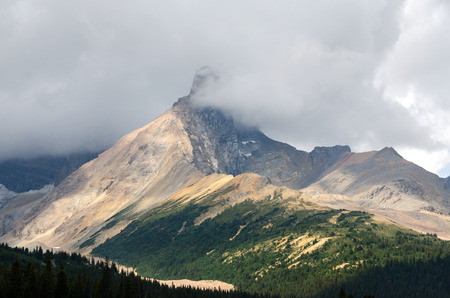 icefield: mountains and clouds on the Icefield Parkway in Canada