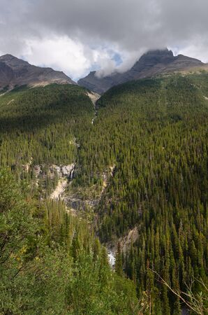 icefield: Bridal falls on Icefield Parkway in Canada