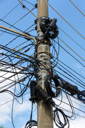 tangle: tangle of electrical wires in Sao Paulo, Brazil Stock Photo
