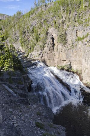 madison: waterfall in the Madison River in Yellowstone National Park Stock Photo