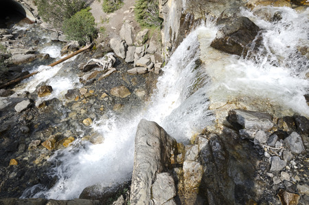 tangle: Tangle Creek Falls on the Icefield Parkway in CanadaTangle Creek Falls on the Icefield Parkway in Canada Stock Photo