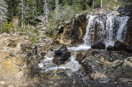 icefield: Tangle Creek Falls on the Icefield Parkway in Canada Stock Photo