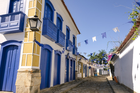 brazil: decorated houses in Paraty in Brazil