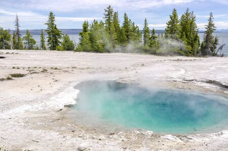 geysers: Geysers near Yellowstone Lake in Yellowstone National Park Stock Photo