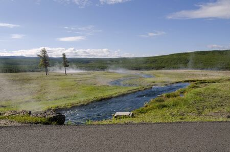 geysers: river and geysers in Yellowstone National Park