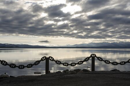 light chains: chain on Yellowstone Lake in Yellowstone National Park