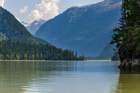 lake and mountains in the Blue River in Canada