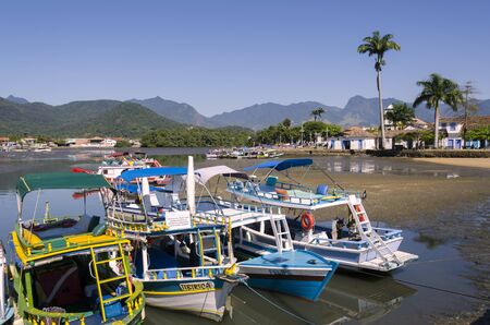 colorful boats in Paraty in Brazil