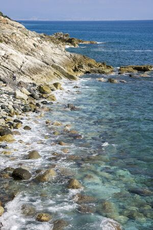 liguria: transparent sea on the promenade of Varazze in Liguria