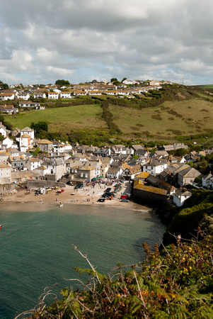 isaac: overview in Port Isaac in Cornwall Stock Photo