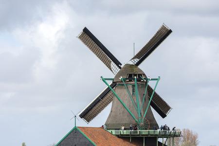 alte: Windmills at Zaanse Schans in Holland Stock Photo