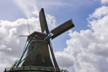 holland windmill: Windmills at Zaanse Schans in Holland Stock Photo