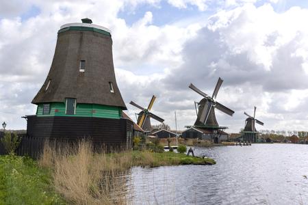 Windmills at Zaanse Schans in Holland Stock Photo